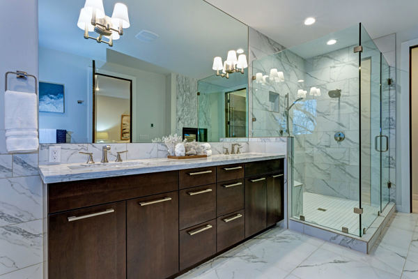 High Quality Bathroom Cabinets in Custom Home in Rochester NY