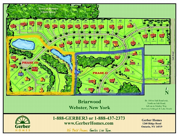 Briarwood Estates Map Home sites in Webster NY