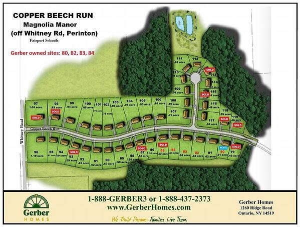 Map of Home sites on Copper Beech Run in Magnolia Manor in Perinton NY