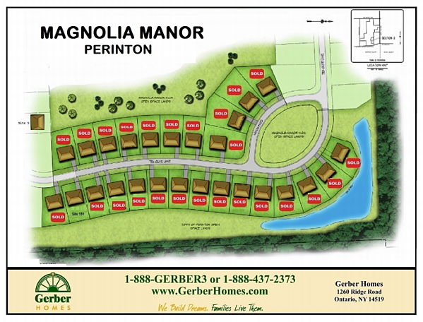 Home sites available in Magnolia Manor in Perinton NY